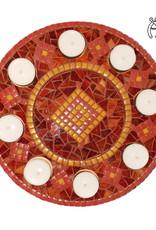 Mozaiek waxinelichthouder Luxe Rondo Oranje-Rood