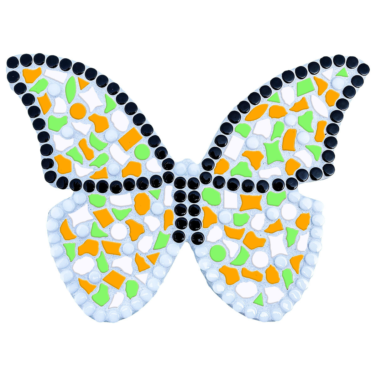 Mozaiek pakket Vlinder Oranje-Lichtgroen-Wit