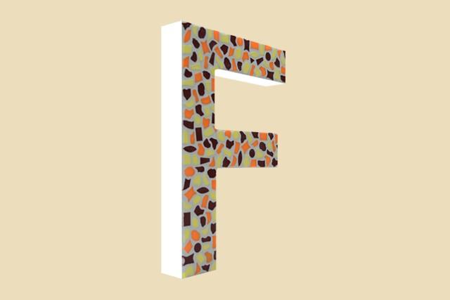 Mozaiekpakket Letter F Warm