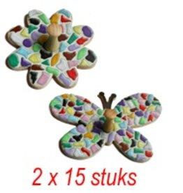 Kledinghanger Bloem/Vlinder 2x15 stuks mozaiekpakket