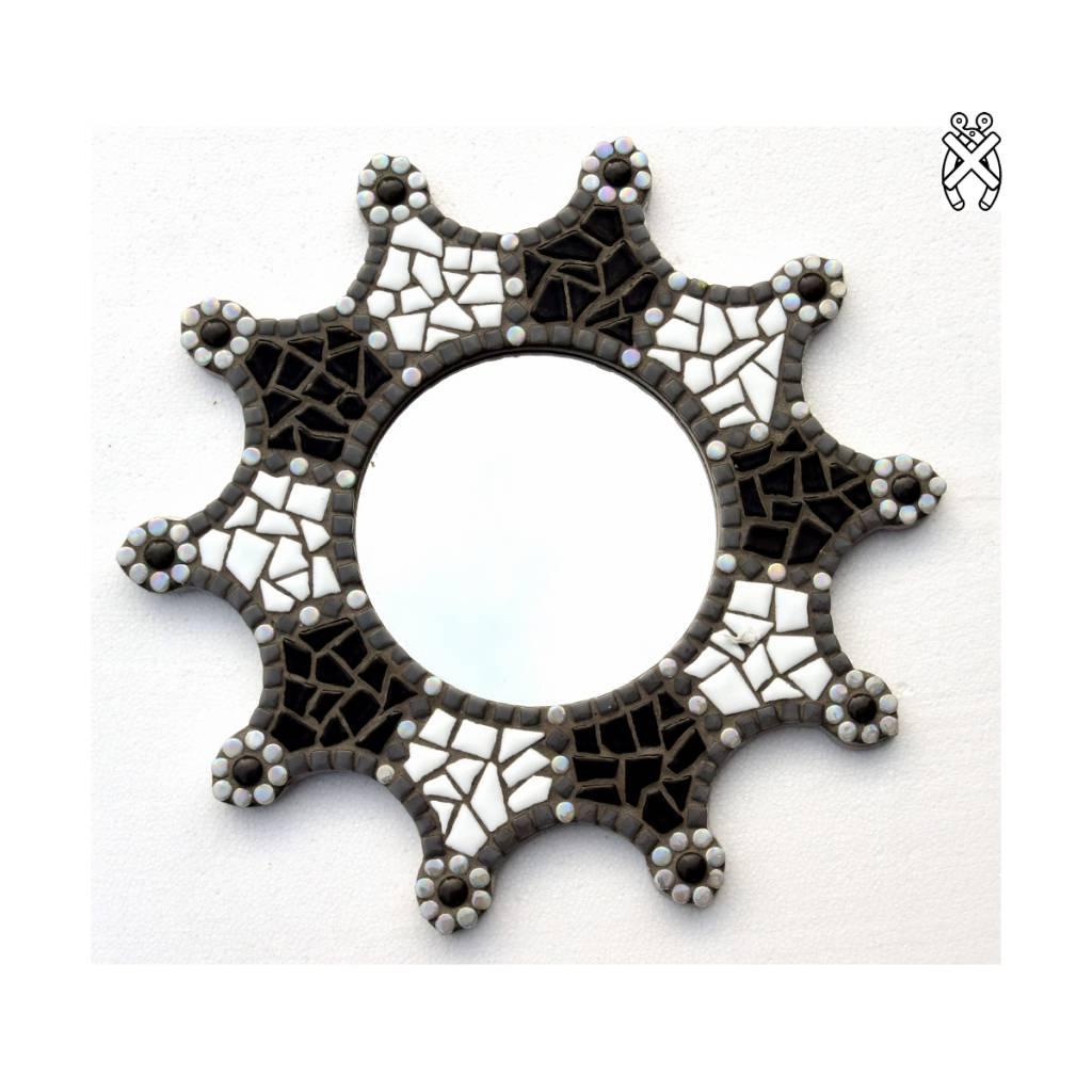 Mozaiek spiegel Sun zwart-wit-grijs