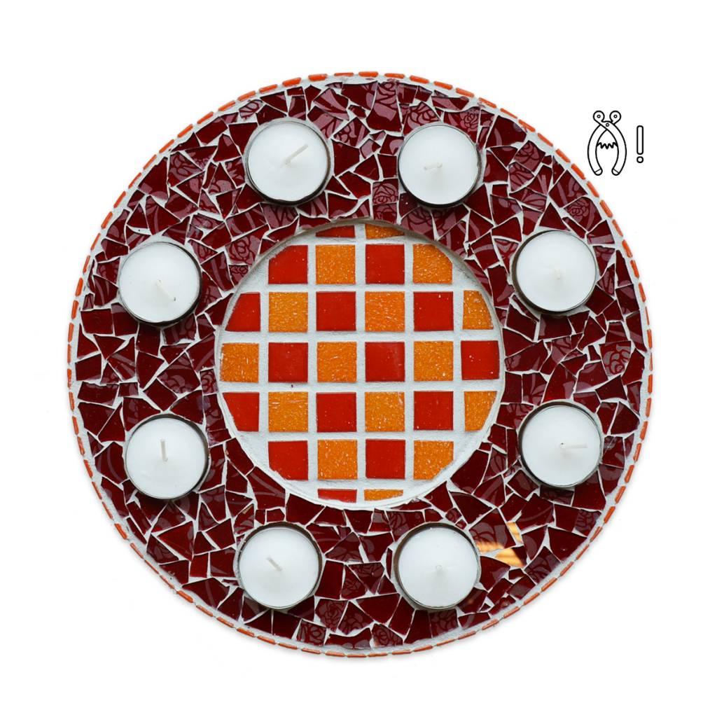 Waxinelichthouder Luxe Qringle oranje-rood
