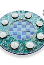 Waxinelichthouder Luxe Qringle blauw-lichtblauw