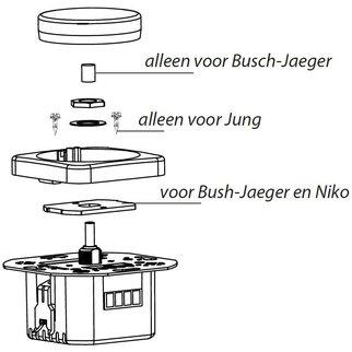 EcoDim Hulpstukken led dimmer voor Busch-Jaeger, Niko en JUNG afdekmateriaal (voor ECO-DIM.04)