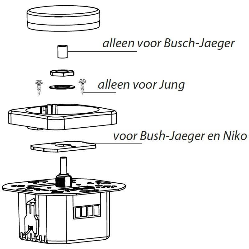 Hulpstukken led dimmer voor Busch-Jaeger, Niko en JUNG afdekmateriaal (voor ECO-DIM.04)