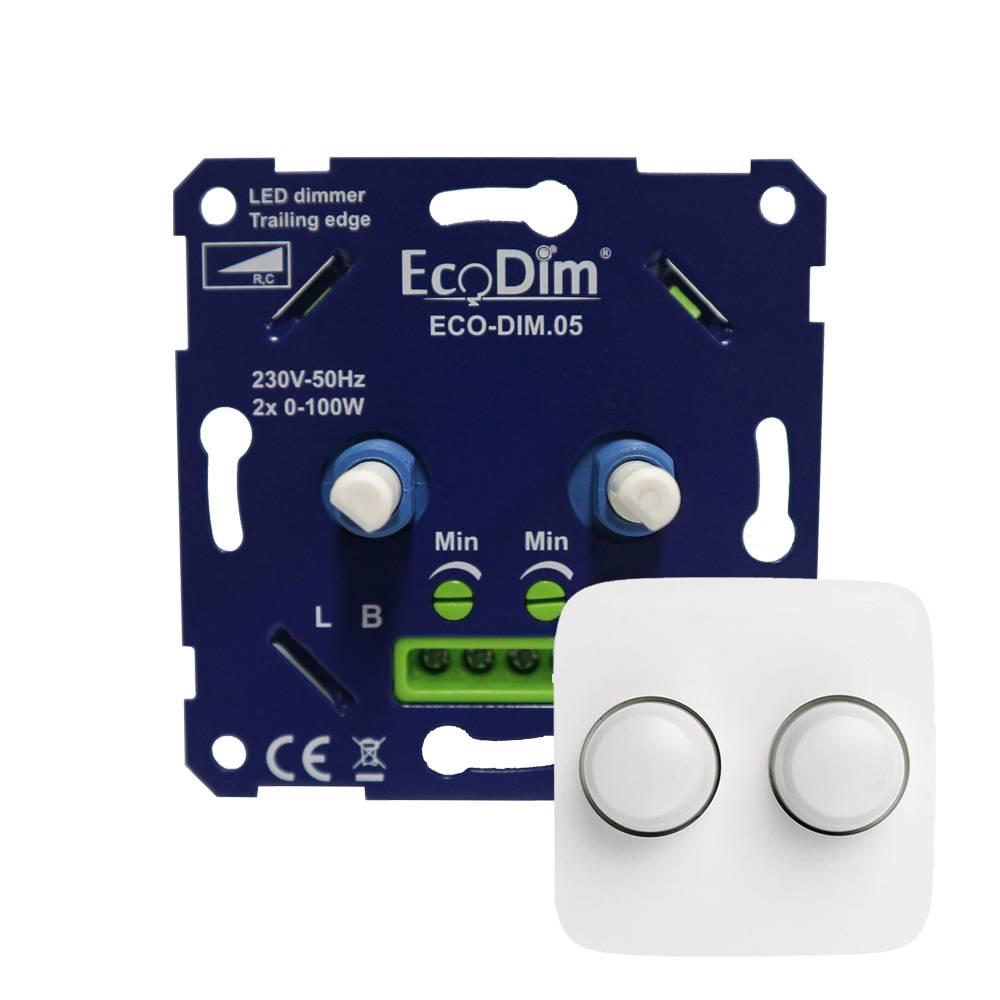 EcoDim Duo dimmerknop Busch-Jaeger Reflex SI incl. centraalplaat