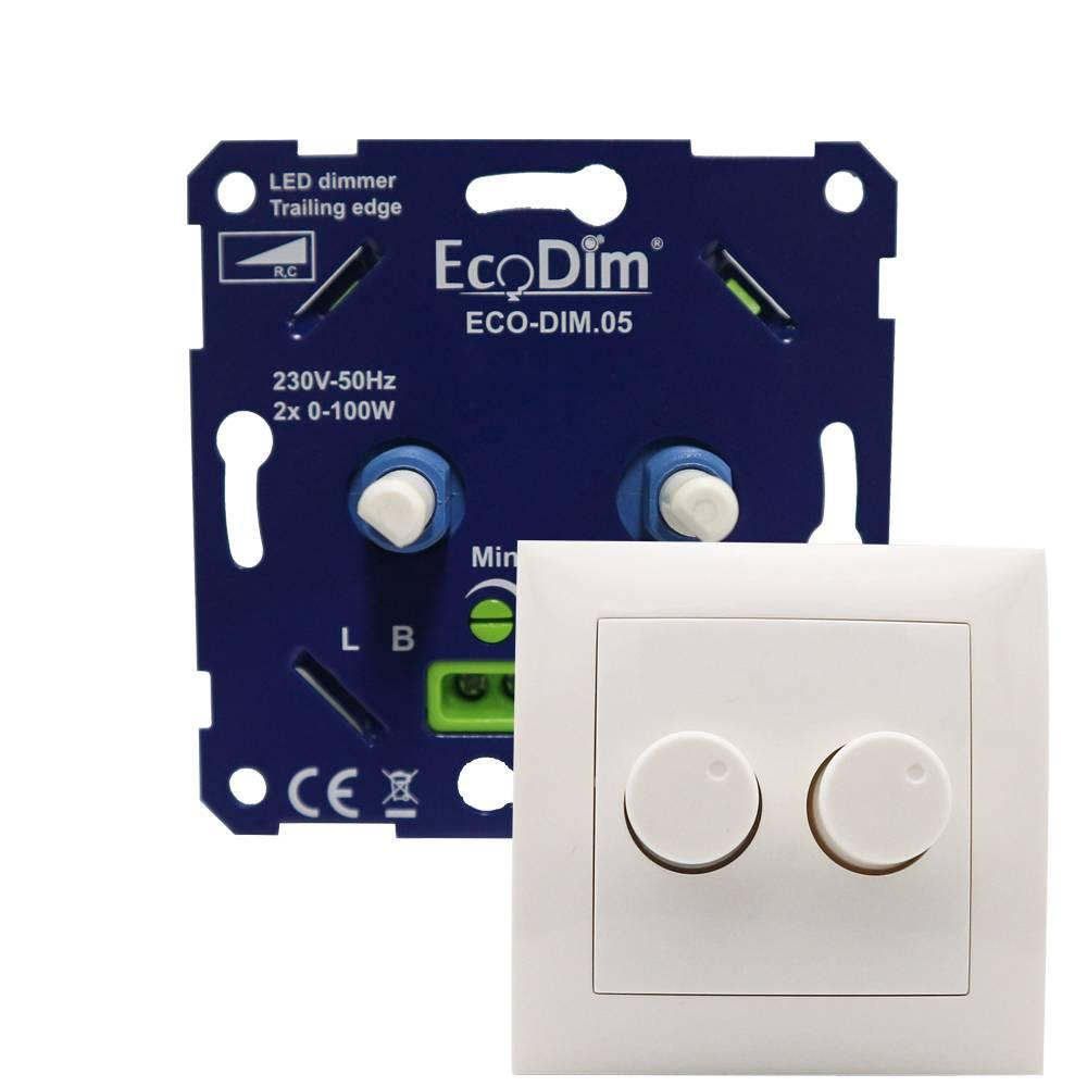 EcoDim Duo dimmerknop Berker S1 incl. centraalplaat en raamwerk