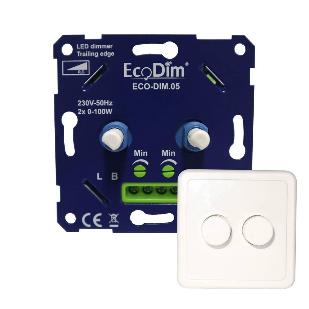 EcoDim Duo dimmerknop PEHA incl. centraalplaat en raamwerk
