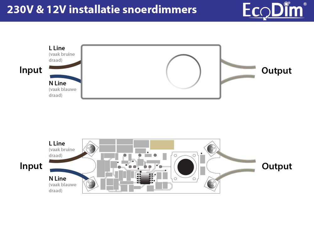 EcoDim ECO-DIM.08 (W) led snoerdimmer 0-50W wit