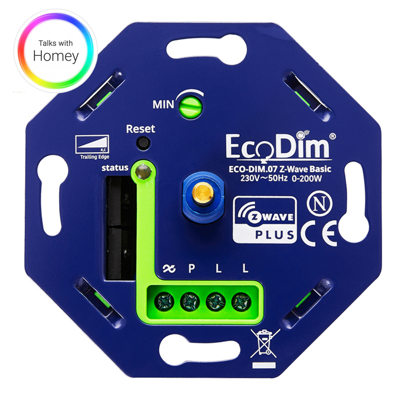 ECO-DIM.07 Led dimmer Z-Wave Basic druk/draai 0-200W