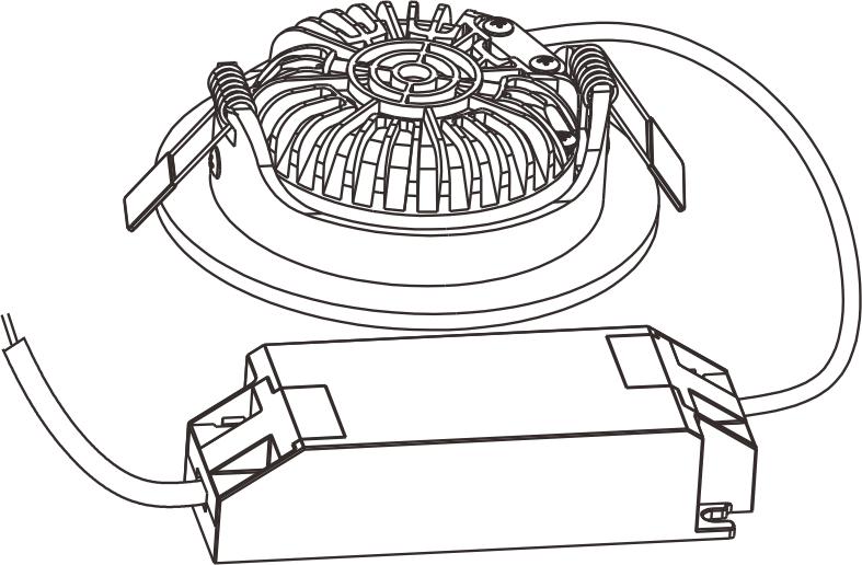 ED-10030 Led inbouwspot dimbaar kleine inbouwdiepte warm wit/2700K rond nikkel
