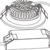ED-10029 Led inbouwspot dimbaar kleine inbouwdiepte warm wit/2700K rond zwart