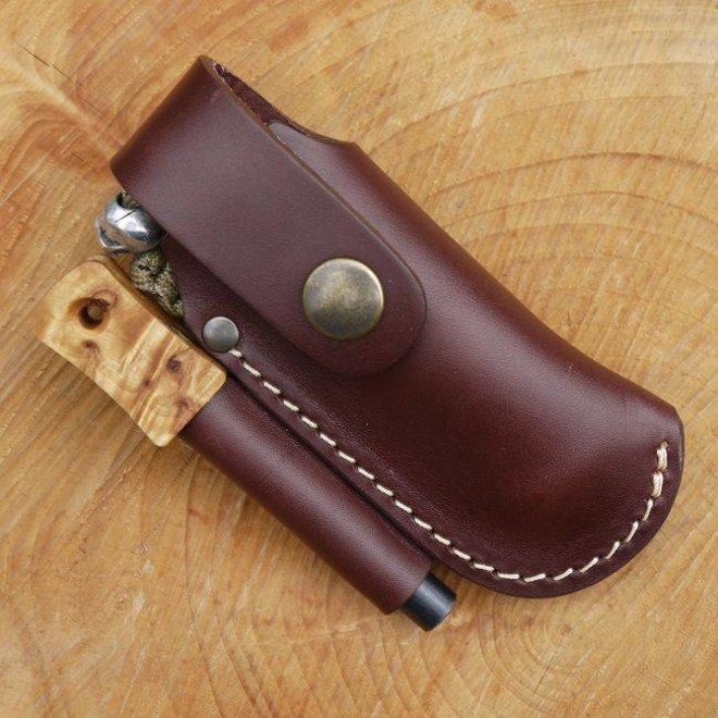 Leather small folding knife belt pouch with firesteel loop - brown