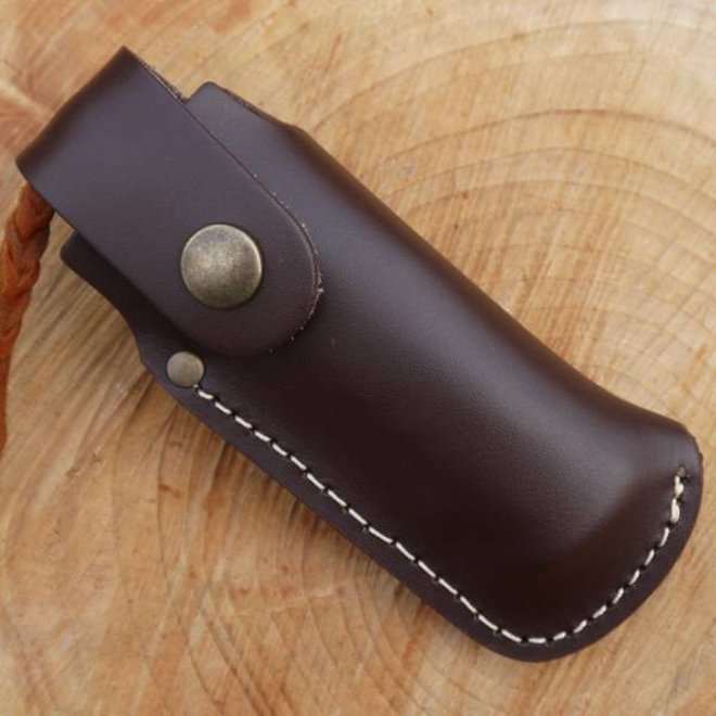 Leather large folding knife belt pouch - brown