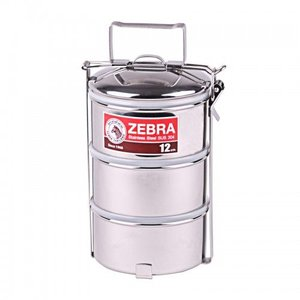 Zebra Stainless Steel-Food Carrier 12cm x 3 layers
