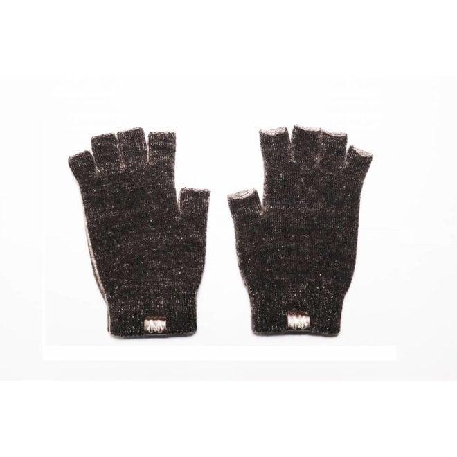 Possum/Merino Handschoenen - Korte Vingers - Black Marl