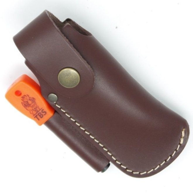 Leather Large folding knife belt pouch with firesteel loop - brown