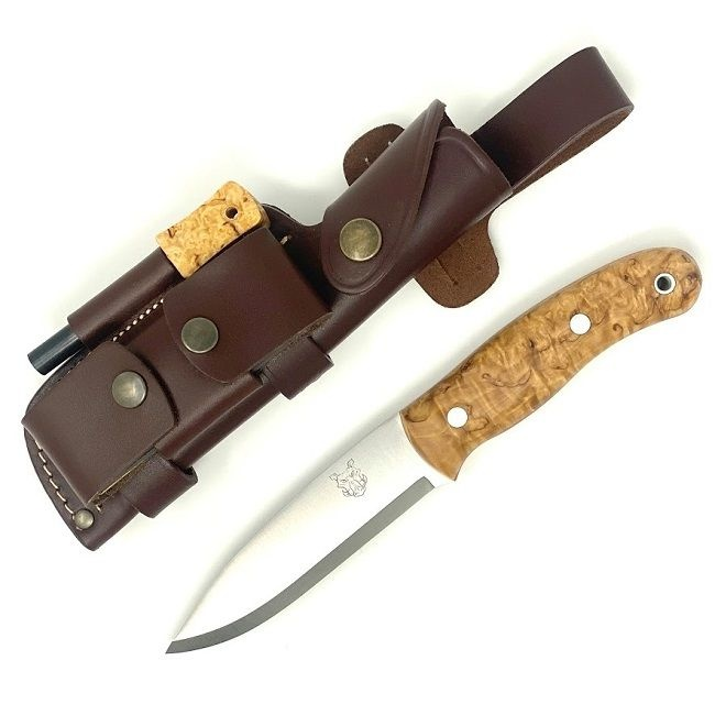 MK II TBS Boar Bushcraft Knife - DC4&TBS FIRESTEEL EDITION - CURLY BIRCH - MULTI CARRY SHEATH