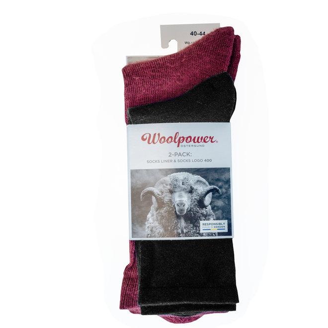 2-Pack: Liner Sock / Sock 400 - Zwart / Rust Red