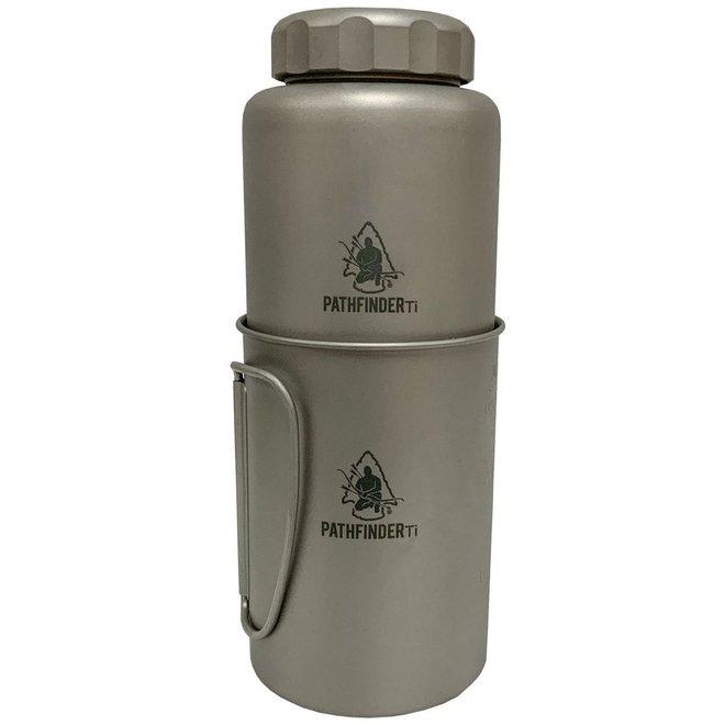 Titanium fles + drinkbeker set