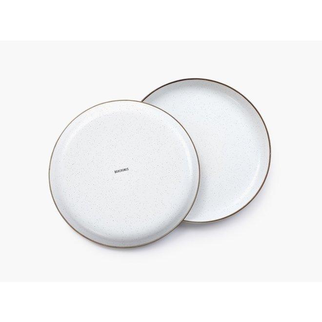 Emaille Plate / Borden - 2 stuks - Egg Shell