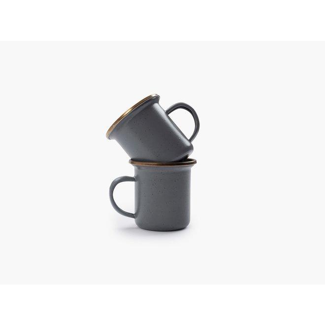 Emaille Espresso Kop - 2 stuks - Stone Gray