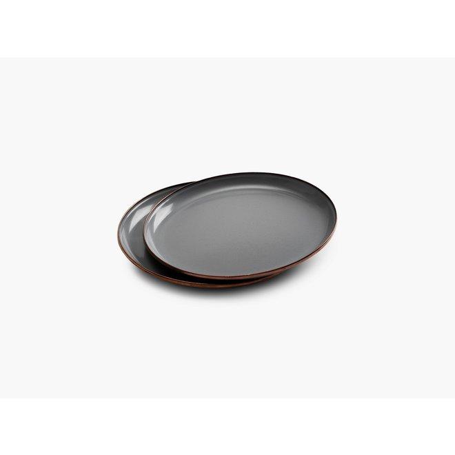 Emaille Ontbijtbord - 2 stuks - Stone Gray
