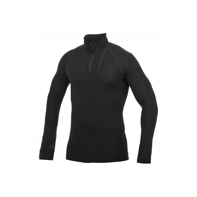 Merino Base Layer Zip Turtleneck LITE - Black