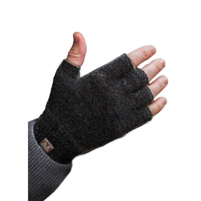 Possum/Merino Handschoenen - Korte Vingers - Black Charcoal