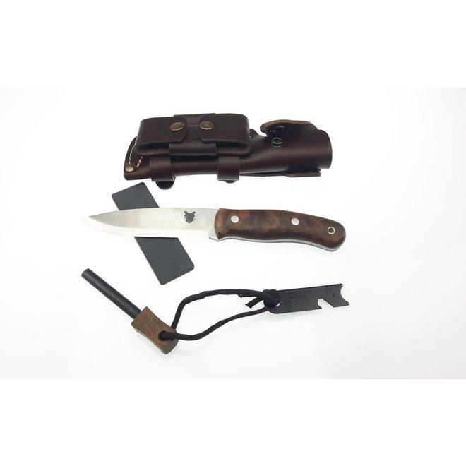 Boar Bushcraft Knife DC4 & Firesteel edition - Turkish Walnut  - Incl. schede