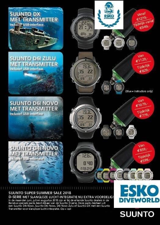 Suunto Super Summer SALE 2018 Duikcomputers met Transmitter Exclusief bij ESKO DIVEWORLD ZEIST