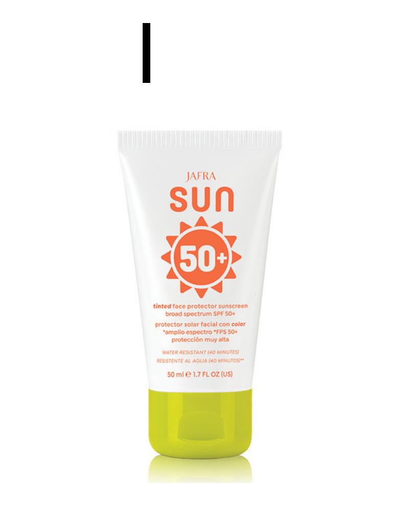 Jafra Cosmetics Jafra Sun Getönte Sonnenschutzcreme für das Gesicht SPF 50+  |  Tinted Face Protector Sunscreen Broad Spectrum SPF 50+  | Tube  50 ml
