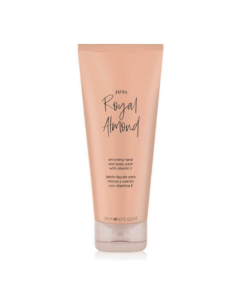 Jafra Cosmetics Jafra Royal Almond Hand- und Körperseife mit Vitamin E |  Enriching Hand and Body Wash with Vitamin E| Tube | 250 ml