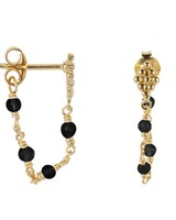 Betty Bogaers Wieber Chain Black Stones Stud Earring Gold Plated