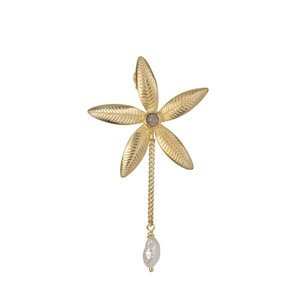 Betty Bogaers Lily Flower Stud and Pearl Chain Earring Gold Plated (SINGLE PIECE)