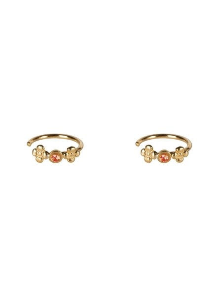 Betty Bogaers Dotted Mini Flowers Red Zirkonia Ring Earring Gold Plated