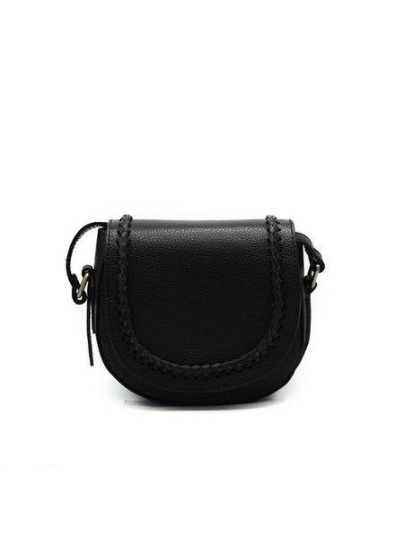 New Apperal Leather Boho Crossbody Bag - black