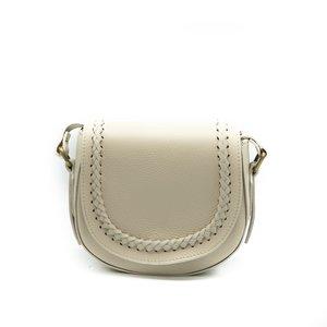 New Apperal Leather Boho Crossbody Bag - Creme