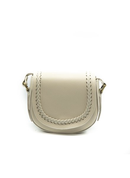 New Apperal Leather Boho Crossbody Bag - Creme