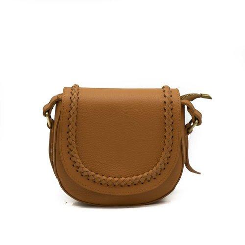 New Apperal Leather Boho Crossbody Bag - Bruin