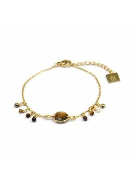 ZAG Bijoux ZAG Armband Tiger Eye Stones Luxury Style  -  Goud