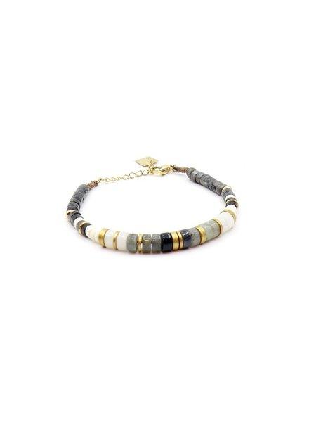 ZAG Bijoux Grijs, witte armband