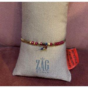 ZAG Bijoux Dubbele armband met rode steentjes