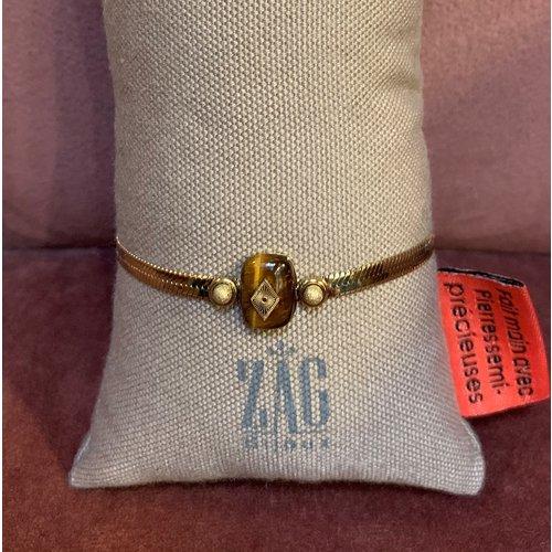 ZAG Bijoux Flat armband goud met bruine steen
