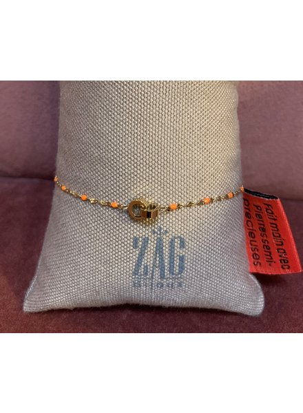 ZAG Bijoux Gouden armband met oranje detail
