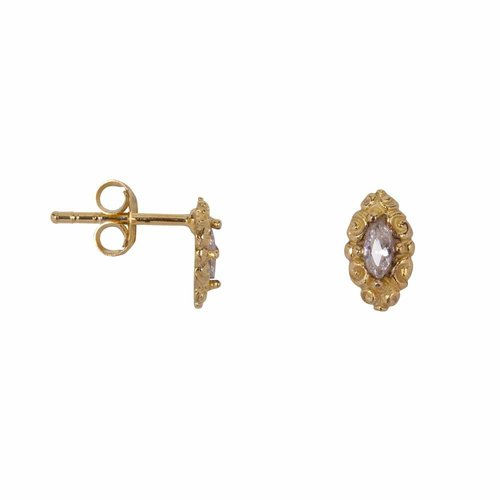 Betty Bogaers Antique Drop Stud Earring Gold Plated - white