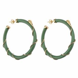 Betty Bogaers Resin Snake Hoop Earring Gold Plated - green