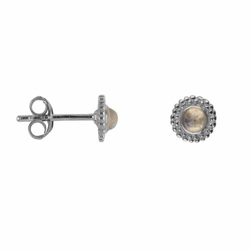 Betty Bogaers Dotted stud earring- silv moon