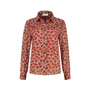 Pom Amsterdam  Blouse - winks and kisses pink