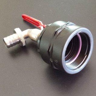 IBC Regenwassertank FEINGEWINDE 2-Zoll Anschluss mit 3/4'' Kugelhahn #F15-REGEN-USER